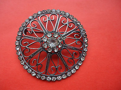 Vintage   Silver  875 Brooch with transparent stones