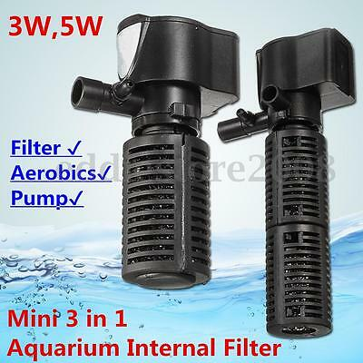 3/5w 3 in 1 Aquarium Internal Filter Fish Tank Oxygen Submersible Pump Spray