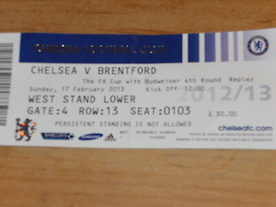 Chelsea v Brentford Used match ticket from FA Cup  on 17/2/13