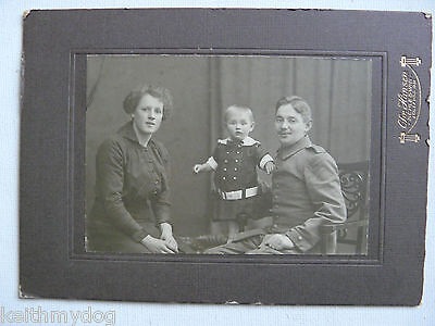 German Soldier,Wife and Child....Original WW1 Military Cabinet Photo