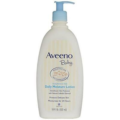 Aveeno Baby Daily Moisture Lotion, For Delicate Skin, Fragrance Free, 18 Oz. New