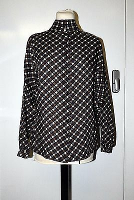 Vintage Jaeger Blue Brown Cream Check Print Buttoned Wool Blouse Size UK 10/12
