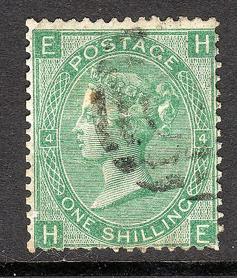 1867 - 80 SG 117 1/- Green Plate 4 Very Fine Used. Cat £60.00