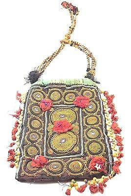 Antique Indian Hand Embroidered Zardozi Work Gold & Silver Dowry Purse Bag