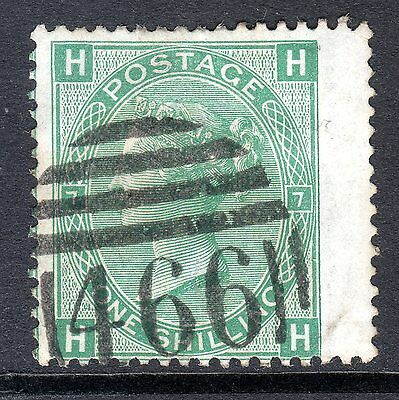 1867 - 80 SG 117 1/- Green Plate 7 Fine Used. Cat £80.00