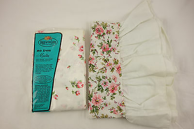3 Vintage Pillowcases NOS Muslin No-Iron Pink Floral Ruffle Cottage Chic