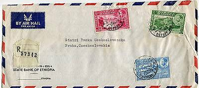 ETHIOPIA 1960 AIRMAIL REGISTERED COVER OVERSEAS to CZECHOSLOVAKIA