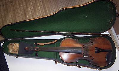 Vintage Antique Ole Bull 4/4 Violin & Case & Bow Made in Germany for Repair