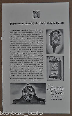 1930 TELECHRON CLOCK advertisement, Revere wall & mantle electric clocks