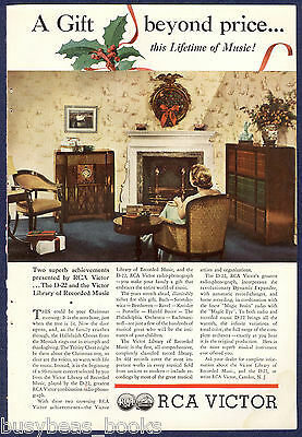 1935 RCA VICTOR advertisement, Phonograph & Record cabinets color photo