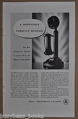 1934 AT&T BELL Telephone advertisement, photo of candlestick phone