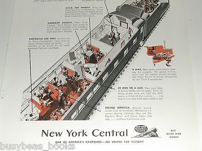 1943 New York Central Railroad advertisement, NYC, troop train sectional view
