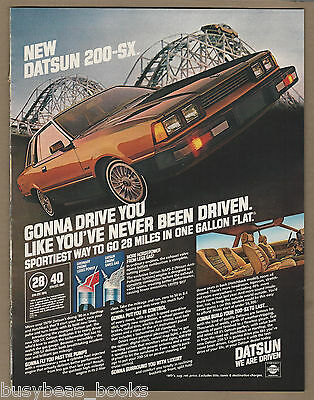 1980 DATSUN 200-SX advertisement, Datsun 200SX on roller coaster, large size ad