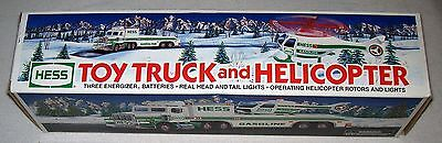 NIB Hess 1995 TOY TRUCK AND HELICOPTER w/ Real Head and Tail Lights & Batteries