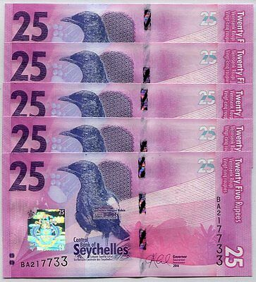 Seychelles 25 Rupees Nd 2016 P New Design Unc Lot 5 Pcs Nr