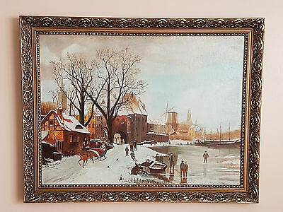Vintage Oil Painting On Board '' The Winter Scene ''