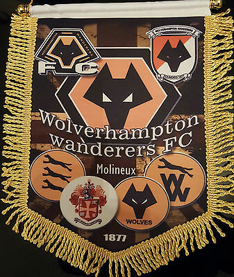 wolverhampton wanderers the logos 14x12in colour pennant