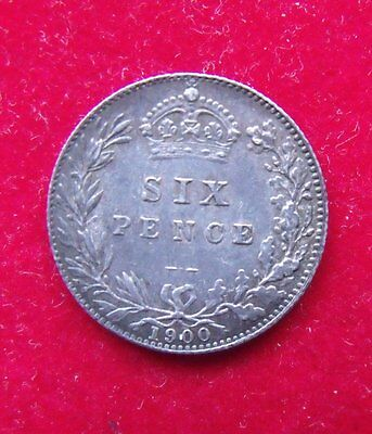 1900 Queen Victoria  .925 Silver British Sixpence Penny 6d Coin