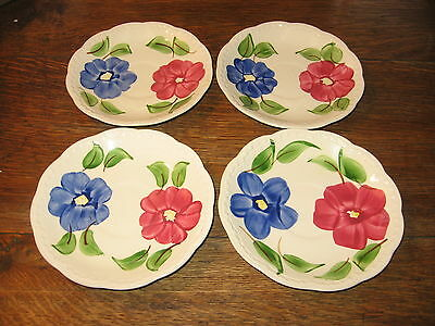 "4 Beautiful  Heritage Ware By Stetson Saucers "" Floral "" Pattern"