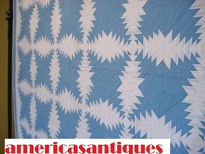 AA +  FABULOUS BLUE AND WHITE PINEAPPLE ANTIQUE QUILT HAND QUILTED  CLEAN 1930s