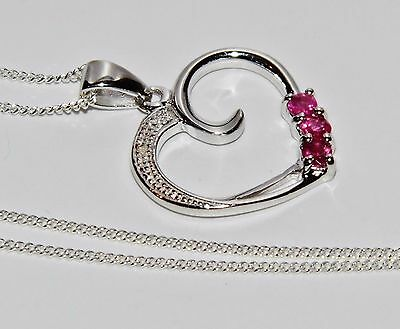 Sterling Silver (925) Real Ruby & Diamond Heart Pendant / Necklace & Chain