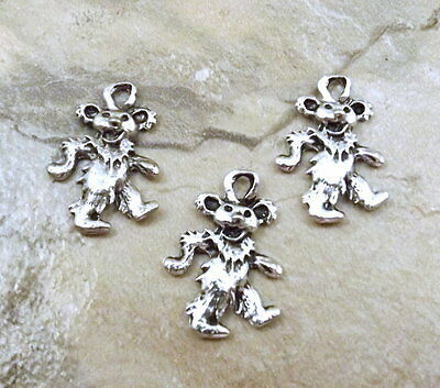 Three (3) Pewter Grateful Dead Dancing Bear Charms - 3542