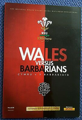 Wales v Barbarians 6 Jun 2012 RUGBY PROGRAMME