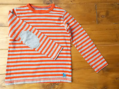 Boden grey and orange long sleeve cotton striped top in age 7-8 years. MINT