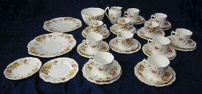 Antique Victorian W & H Wood & Hulme 40 Piece China Floral Tea Set Cups Saucers