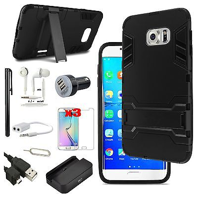 Black Kickstand Case Cover Charger Accessory For Samsung Galaxy S6 Edge+ Plus