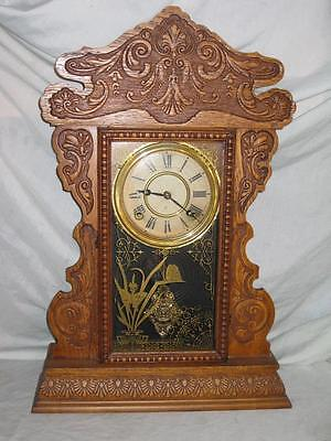 "E.N. Welch Kitchen Mantle Clock, Oak Case, 8 Day T&S, Running, ""Mantle No. 20"""