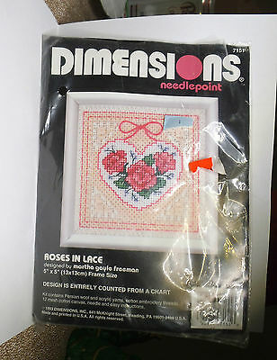 Classic ROSES IN LACE heart needlepoint kit