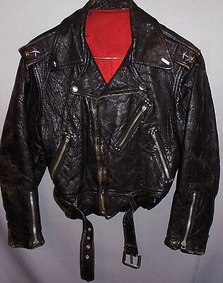 -Rare- 1950's -Motorcycle- Vintage Boy's Black Leather Coat/Jacket w/Star Studs