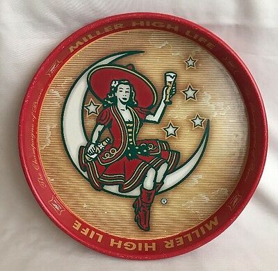 Miller High Life Girl On Moon Beer Bar Advertising Serving Tin Tray 1999