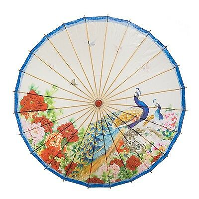 "THY COLLECTIBLES Rainproof Handmade Chinese Oiled Paper Umbrella 33"" Peacock ..."