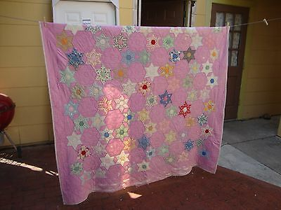 Vintage Pretty Quilt Hand Stitched with Some Wear