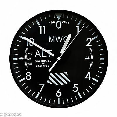 """MWC Aircraft Altimeter Military Wall Clock 9""""/22.5cm with Silent Sweep Movement"""