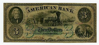 1863 $3 The American Bank - Baltimore, MARYLAND Note w/ TRAIN CIVIL WAR Era