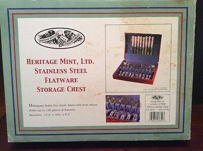 Heritage Mint Stainless Steel Flatware Storage Chest Holds Up To 130 Pcs