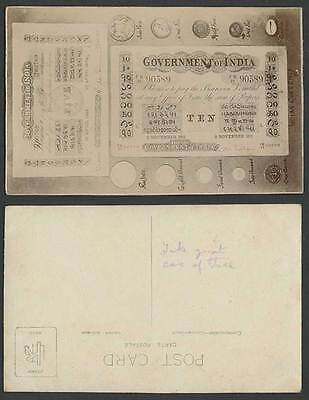 Indian Currency Money Banknotes Coins Government of India 1909 1911 Old Postcard