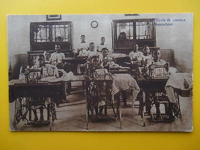 Young Missionary Girls Making Clothes BELGIAN CONGO Africa c1910 Sewing Machines