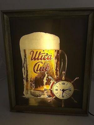 Vintage Lighted Utica Club Beer Sign With Clock