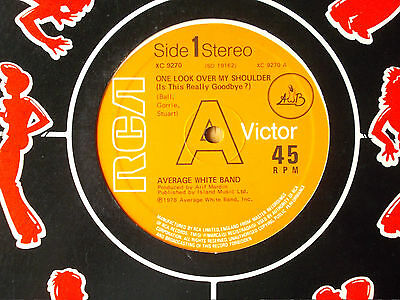 """Average White Band One Look Over My Shoulder 12"""" Single 1978 N/mint"""
