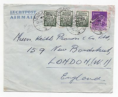1954 INDONESIA Air Mail Cover SUBANG To LONDON GB