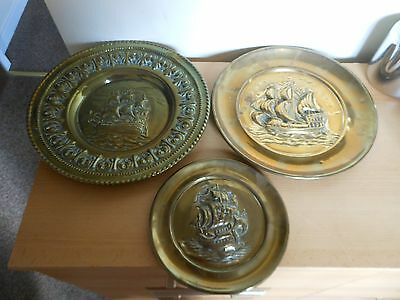 3 brass plaques of ships,,,,,224