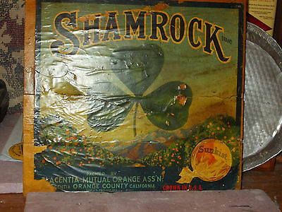 orange crate advertising 1930's California orange growers SHAMROCK  brand