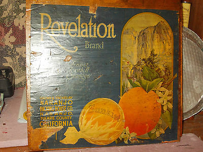 orange crate advertising 1930's California orange growers REVELATION brand