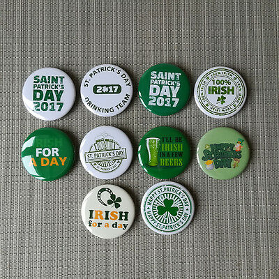 10 Irish St. Patricks's Day Beer Button Pins Badges / 2.25 Inch / 56 mm / Top