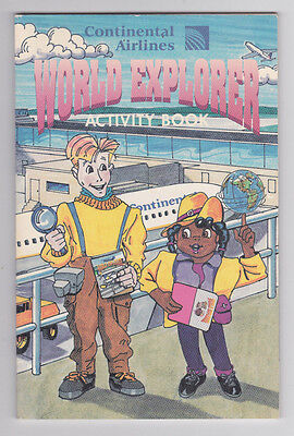 Continental Airlines World Explorer Activity Book 1993 Never Used/Read Complete