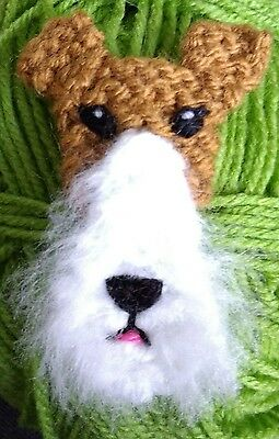 knitted wire fox terrier brooch NEW !